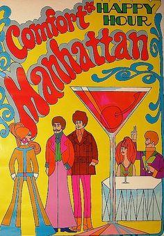 ☮ American Hippie Illustration Art ~ Happy Hour
