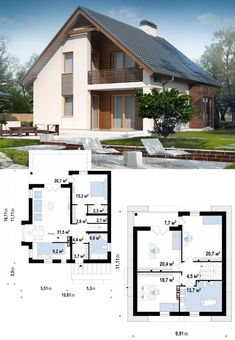 This photo is seriously an outstanding design concept. Cottage House Plans, Dream House Plans, Small House Plans, Cottage Homes, Minimalist House Design, Small House Design, Modern House Design, Modern Bungalow House, Model House Plan