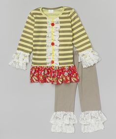 Love this Gray & Yellow Stripe Tunic & Lace Pants - Infant, Toddler & Girls by Lady's World on #zulily! #zulilyfinds