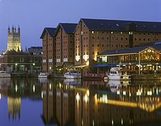 Gloucester Docks and cathedral at night