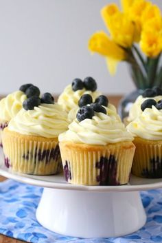Lemon blueberry cupcakes with lemon cream cheese frosting! YUM!