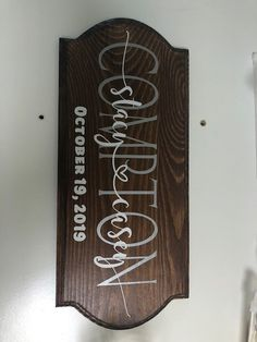 14x6 Personalized Wooden Sign- Stain Color and message color of your choice.  Order yours today!   2-4 weeks delivery ARO.