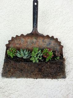 Sa pourrait être une idée pour mettre sur crochet dehors à coter de la corde à linge ...Vintage Metal Dustpan turned planter.