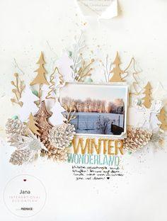 winterwonderland1-jana 12x12 Scrapbook, Scrapbook Journal, Scrapbook Page Layouts, Card Making Inspiration, Layout Inspiration, Art Journal Inspiration, Smash Book Pages, Paper Stars, Photo Layouts