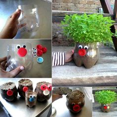 Cute planter ideas with coke bottles,  caps and googly eyes Chia Pet, Face Planters, Diy Planters, Recycled Planters, Planter Ideas, Recycled Decor, Window Planters, Recycled Garden, Decorative Planters