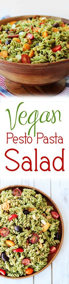 This vegan pesto gluten free pasta salad will be a hit at any Summer BBQ, cook-out or family potluck.: