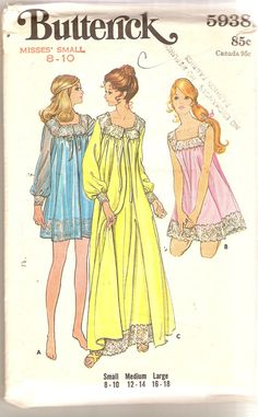 1970s Misses Peignoir Pattern Nightgown and Robe by CherryCorners, $10.00