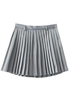Pleated A-Line Mini Skirt - GRAY L