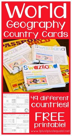FREE Printable World Geography Country Cards - This is a great resource for homeschool kids from Kindergarten - grade! Geography Activities, Geography For Kids, Teaching Geography, World Geography, Teaching History, History Education, 3rd Grade Social Studies, Teaching Social Studies, Ecole Bilingue
