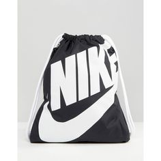 Nike Heritage Drawstring Backpack (25 CAD) ❤ liked on Polyvore featuring bags, backpacks, black, nike, sacs, rucksack bags, nike bags, drawstring rucksack, draw string backpack and drawstring backpack