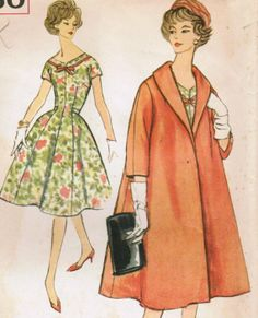 Vintage 1959 Simplicity 2850 Sewing Pattern Misses' One-Piece Dress and Coat Size 14 Bust 34