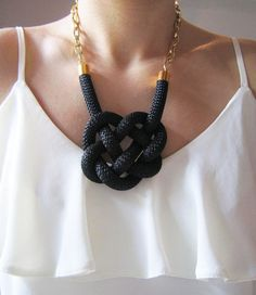 Statement Black Cord Necklace Celtic Heart by AllThingsArtistic7