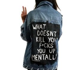 The rough feel that accompanies the denim jacket and the ripped jeans really can provide you that tough look which you will wish to have fun achieving Denim Jacket Diy, Painted Denim Jacket, Painted Jeans, Painted Clothes, Hand Painted, Diy Clothing, Custom Clothes, Looks Black, Trendy Swimwear