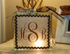nightlight made out of glass block from craft store- so cute!