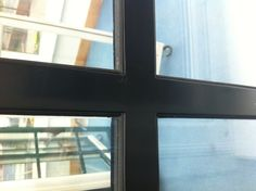 Windows with individual panels. Close up of inside.