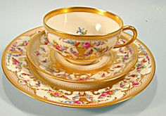 Gorgeous Dresden Lamm Cup and Saucer Trio Raised Gold