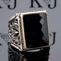 925 Sterling Silver Mens Ring with Black Onyx Unique elegant KaraJewels Design #KaraJewels #Turkish