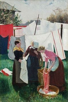 Gustave Caillebotte (French painter, Laundry Drying, Petit Gennevilliers 1892 When I was a child, Monday was laundry day. Today we just toss soiled linens into the washer, no mat… Laundry Art, Laundry Drying, Doing Laundry, Laundry Lines, Art Du Fil, Max Ernst, Oeuvre D'art, Photos, Pictures