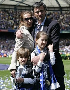 Happy family: Mourinho celebrates with wife Tami and children Jose Jr (left) and Matilde after Chelsea won the Premier League title in 2005