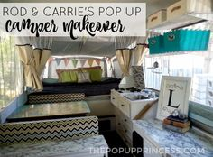 What an adorable pop up camper remodel!  With a few easy changes--like stain resistant fabric and added storage--camping with a large family is a breeze!