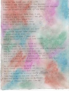 first day of my life  lyrics.  Found on a blog.
