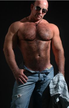 Big Muscle Daddy Huge Furry Chest Bald Aviators Dominating Alpha Male
