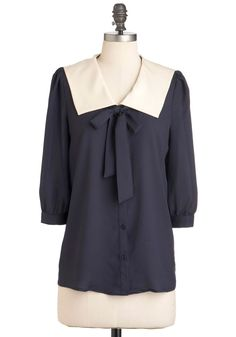$43 Thesis and That Top - Blue, 3/4 Sleeve, Tie Blouse, Mid-length, Buttons, Tan / Cream, Solid, Work