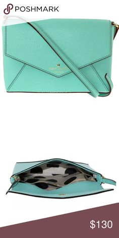 """Kate Spade NY Cedar St. Large Monday Crossbody This beautiful Kate Spade bag is """"Fresh Air Blue"""" --almost Tiffany Blue. It has gold-plated hardware and is lined in cream and black Kate Spade polka dot printed fabric. Featuring an inner slip pocket, it has an envelope style flap with magnetic closure. The Kate Spade New York logo adorns the front of the bag but is not too gaudy. The bag was bought at Macy's in Chicago and is brand-new with original tag. Dust bag is included. 7""""x5""""x1"""" with…"""