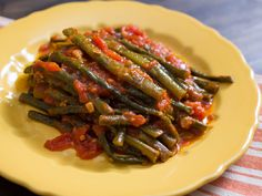 braised long beans with tomatoes