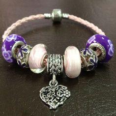 "Pugster ""Best Friend"" Pink Purple Charm Bracelets"