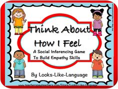 Build vocabulary for emotions, tell emotions for faces, and infer feelings for situations and from thoughts. A game, 144+ game cards at varied levels, worksheets and activities! $
