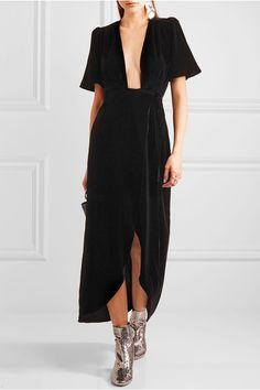 Black velvet Ties at side 82% rayon, 18% silk Dry clean