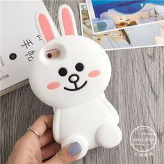 Para-Iphone-5s-6-6s-6s-Plus-3d-De-Silicone-Flexivel-Linha-Bonito-Urso-Marrom-Bunny-Cony-Capa