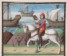 Young man at falconry; fishermen angling Paris, Maitre François (iluminador), c. 1475; 1478-1480. Medieval Imago & Dies Vitae Idade Media e Cotidiano.