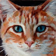"Daily Paintworks - ""Orange Kitty Head"" - Original Fine Art for Sale - © J. Dunster"