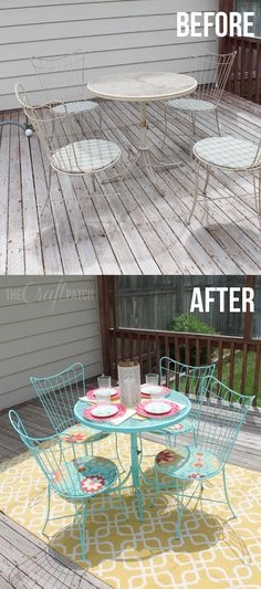 Completely transform a patio set with paint and a bit of fabric. Awesome!