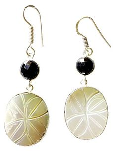 925 STERLING SILVER HANDMADE ABALONE SHELL  BLACK ONYX DANGLE EARRINGS FOR WOMEN BY TIBETAN SILVER ** Check this awesome product by going to the link at the image.
