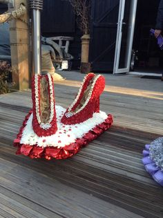 Funeral Flowers. Red shoes funeral flower tribute, glitter red shoes funeral…