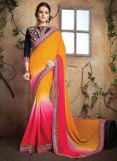 Orange and Pink Embroidered Work Georgette Designer Saree