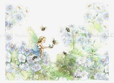 Bumble Bee Tea, Fairy Art Print, 8 X 10,  girls room art, print, fairy in periwinkle blues, with hand painting, art. $35.00, via Etsy.