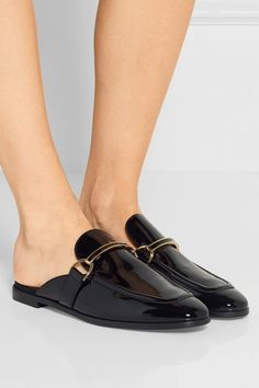Heel measures approximately 15mm/ 0.5 inches Black faux patent-leather Slip on Made in Italy