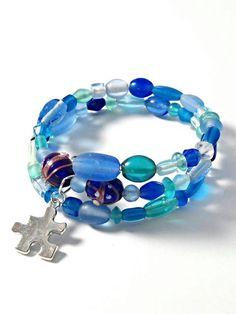 Blue glass memory wire Autism Awareness charm bracelet. https://www.etsy.com/listing/227323735/autism-bracelet-autism-awareness-jewelry
