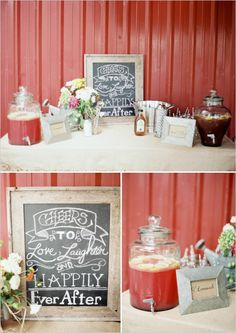 wedding drink table ideas #farmwedding #drinkstation #weddingchicks http://www.weddingchicks.com/2014/01/13/summertime-country-wedding/