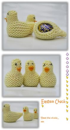 free #Knitting Patterns Galore - Easter Chick for cream eggs