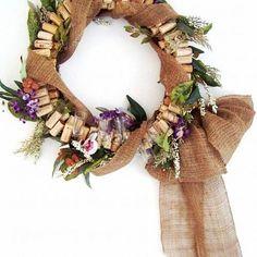 wine cork door wreath, crafts, repurposing upcycling, wreaths, Wine cork door wreath with antique wine glasses