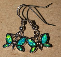 blue fire opal earrings Gemstone silver jewelry modern Butterfly drop/dangle P9E #DropDangle