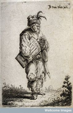 Jan Georg van der Vliet, c. 1632. ,An old man in ragged clothes and a feathery fur cap playing the hurdy gurdy.  Wellcome Library, London  9,3x6,7cm