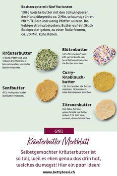 Weil Kräuterbutter ein Must ist an einem Grillabend, musst du dir diesen Pin sofort merken! Da ist für jeden was dabei! Ob nun Curry Knoblauch Butter oder Senfbutter, hier wirst du sicherlich fündig! Kraut, Cheesecake, Curry, Food, Butterbeer Recipe, Meat, Barbecue Recipes, Honey Mustard, Peppermint