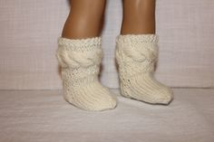 hand knit socks, ivory cable socks, 18 inch doll clothes, american girl, maplelea by UpbeatPetites on Etsy