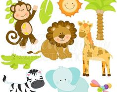 SALE Jungle Animal Faces Cute Digital Clipart by JWIllustrations